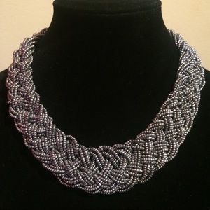 Jewelry - Very Nice Hand-beaded and Braided Silver Necklace!